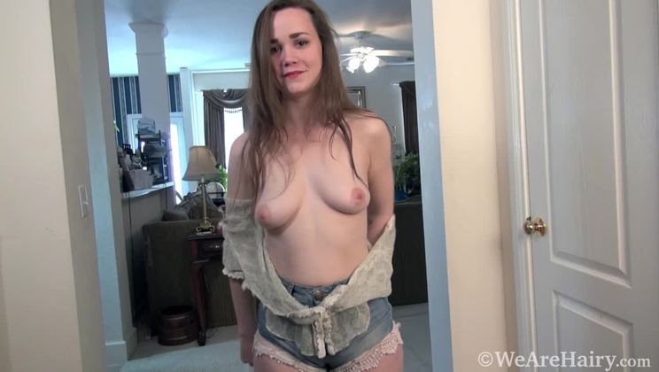 Kelly Morgan strips naked on her rug