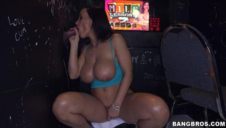 Big Tit MILF Milking Multiple Big Cocks in Glory Hole