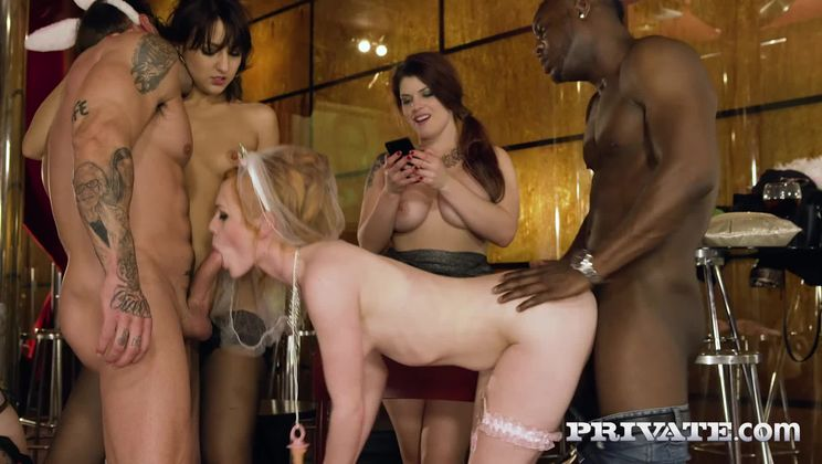 Interracial nightclub orgy complete with squirting, anal and DP