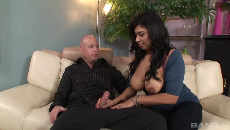 Michelle Rica holds her nipples up to catch all his cum