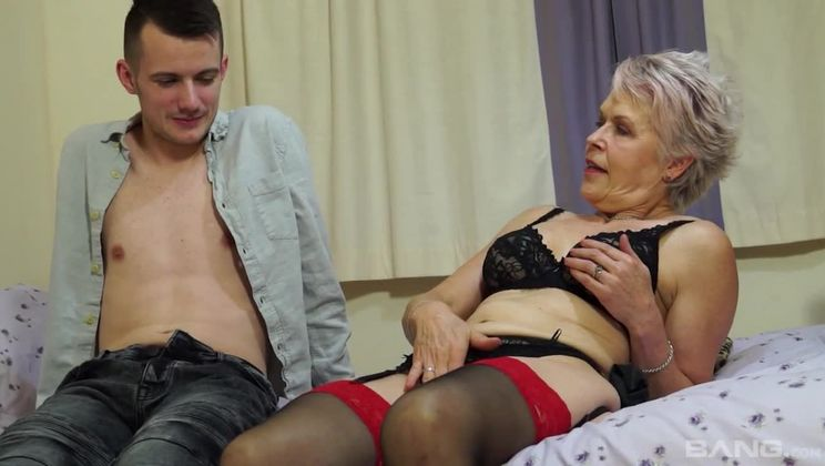 Old granny Lady Sextacy fingered and fucked by a frat dude