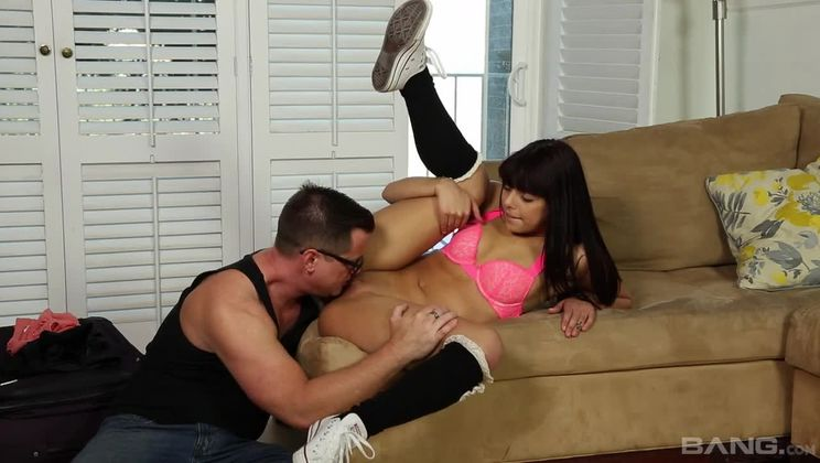 Gina Valentina drools all over his stiff dick before sitting down on it
