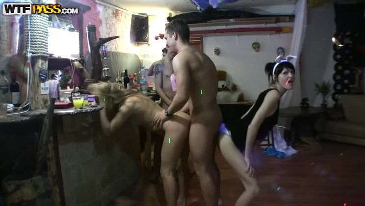 Hot college girls fucking in a club, part 2