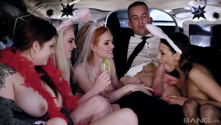 Lucia Love, Carly Rae, Ella Hughes and Suzi Rainbow fuck their chauffeur