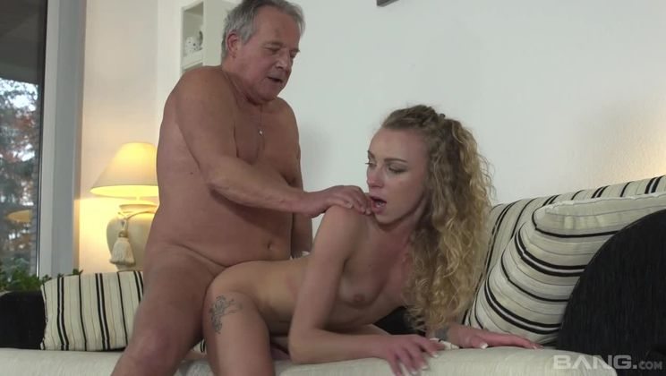 Angel Emily fucks an old geezer and swallows his jizz
