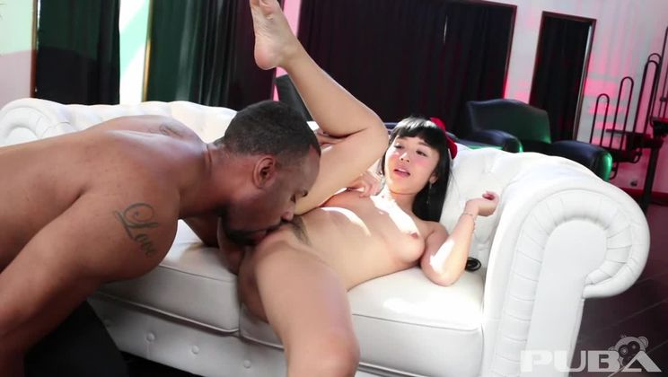 Tiny Asian spinner takes on a huge Black Cock!