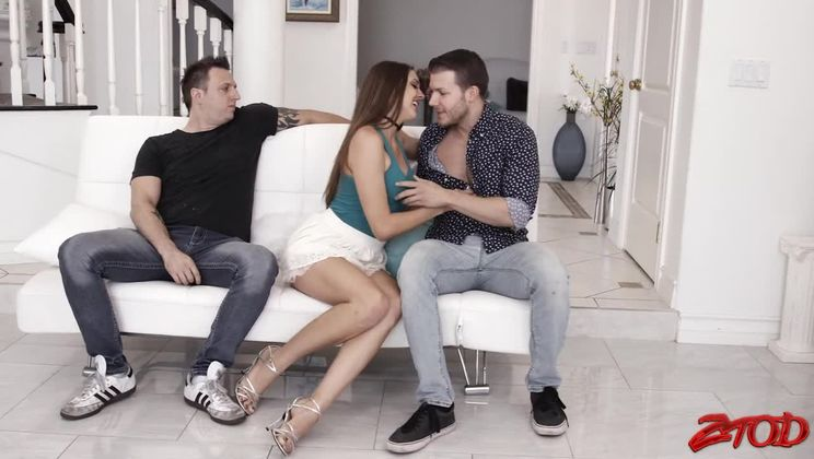 Lovely Brunette Enjoys Threesome on Couch