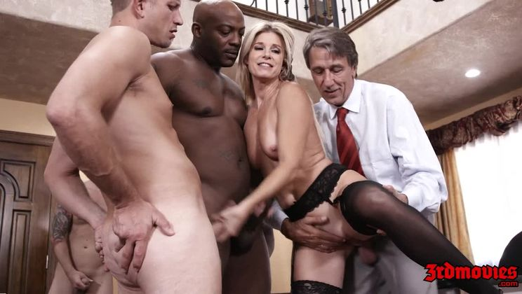 Sexy Blonde Teacher Enjoys an Interracial GangBang