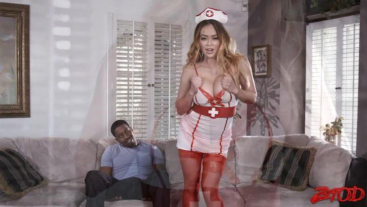Busty Brunette Nurse on Duty