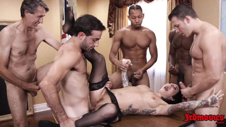 Tattooed Dark Haired Teacher Takes on Multiple Cocks