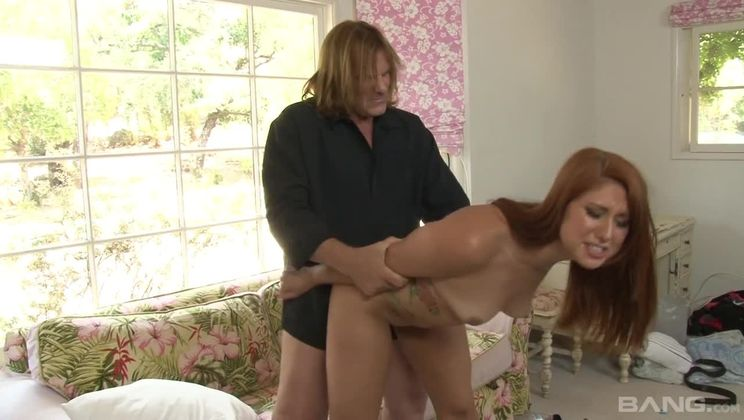 Rose Red tries to take all of Evan Stone's cock in her ass