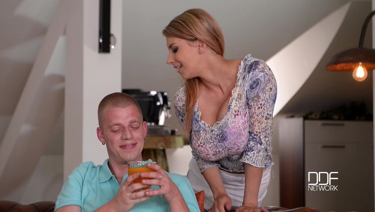 Chesty Czech Superstar Rides Cowgirl and Coaxes Cum On Tits