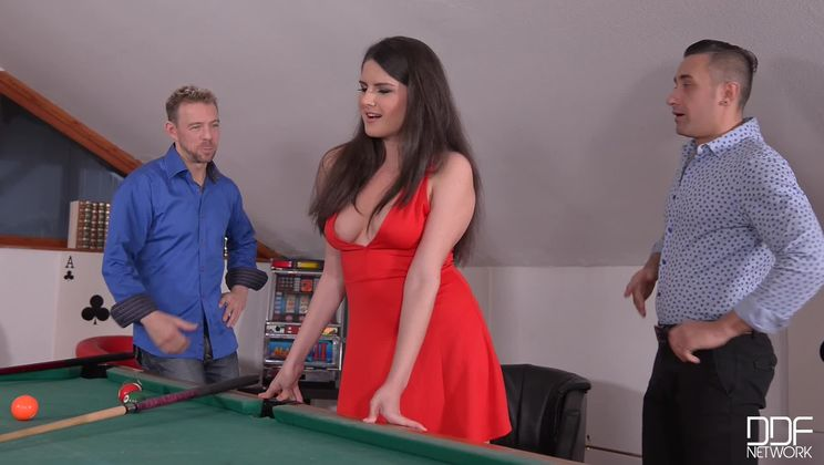 Double Donged: Horny Babe Ass Fucked on the Pool Table!