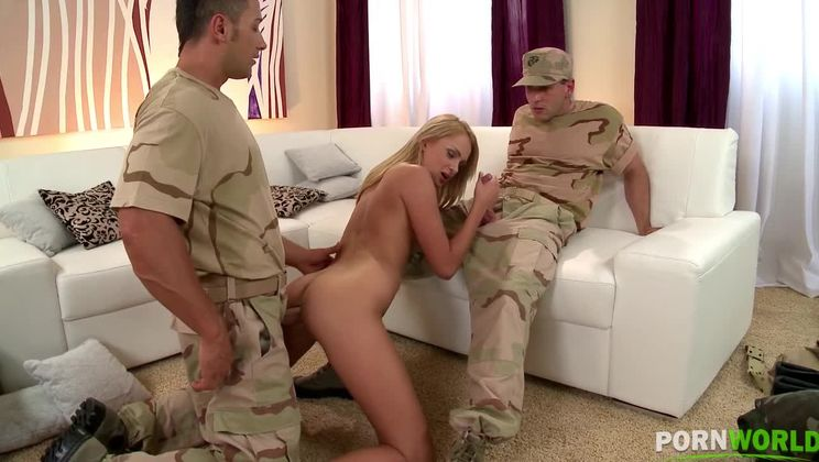 Soldiers get to double penetate blonde babe Ivana Sugar's pink and asshole GP1040