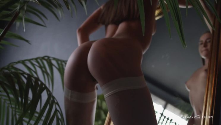 Extremely hot natural girl stripping for a camera